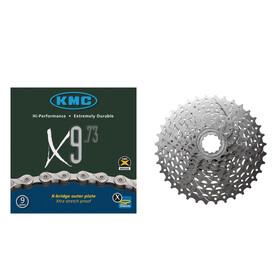 Shimano Alivio cassette CS-HG400 11-32 y cadena KMC X-9-73 9 velocidades - Set cassette y cadena - set gris
